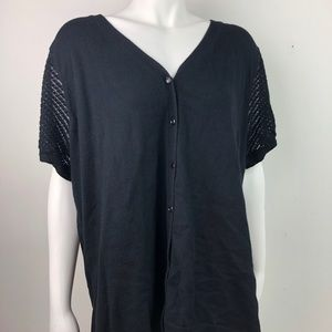 Denim & Co Black Button Up Top Crocheted Sleeves